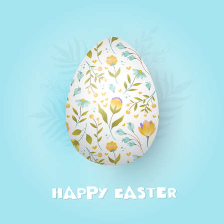 Greeting card with decorative egg and hand lettering