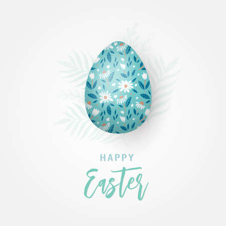 Easter greeting card with decorative egg and hand lettering