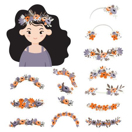 Wreath collection for girls hair. Girl portrait, avatar. Hair wreath