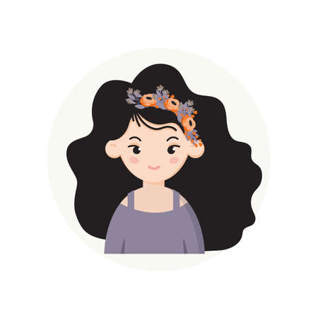 Girl with wreath portrait , avatar. Hair wreath