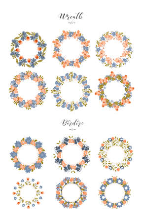 Set of spring decorative wreaths and borders isolated