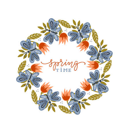 Spring lettering with wreath. Spring flower and butterflyes