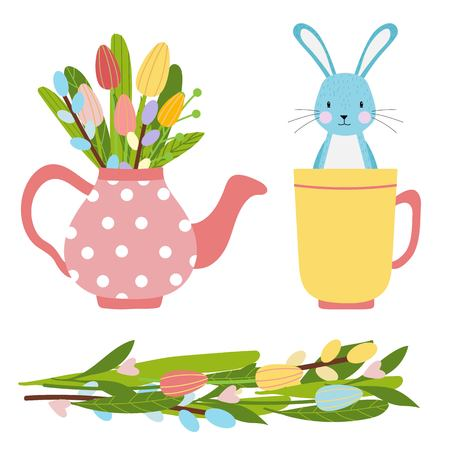 Easter vector elements set of spring tulips flowers bouqet, flower wreath, eggs, teapot and mug. Cute bunny character