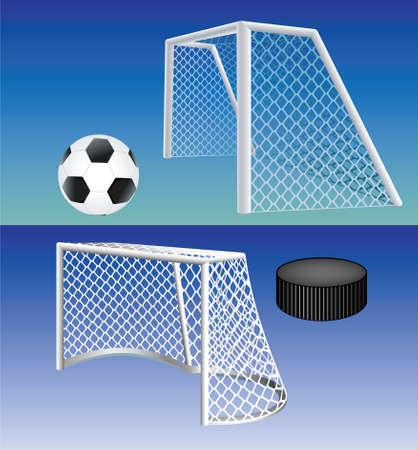 goal net: Soccer and ice hockey detailed goals. Vector.