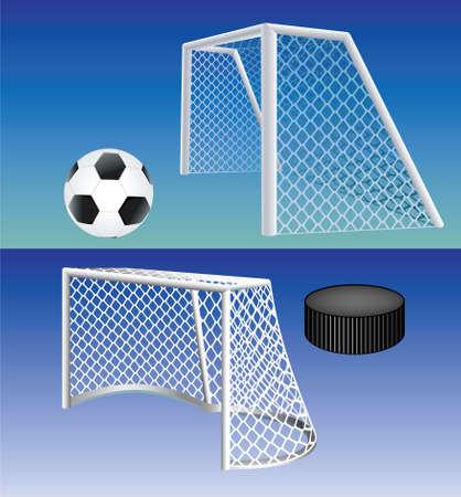 Voetbal en ijshockey gedetailleerde doelstellingen. Vector.