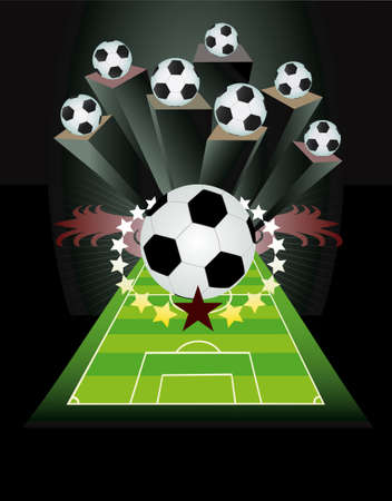 Soccer background with balls Vector