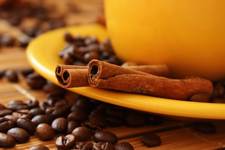 Coffee cup and coffee beans. photo