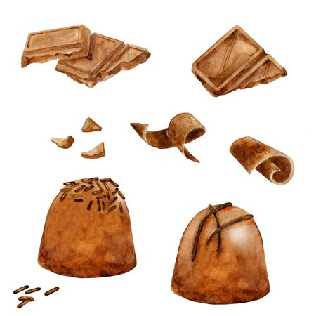 Watercolor set of chocolate. Round praline, chunks and cacao bars. Hand drawn illustration isolated on white.
