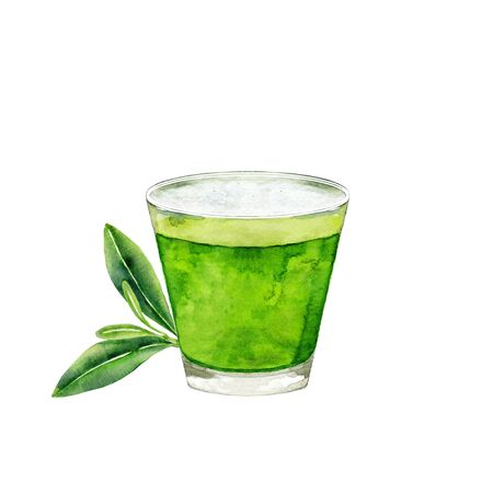 Glass of matcha tea and green leaves. Watercolor illustration isolated on white. Stock fotó