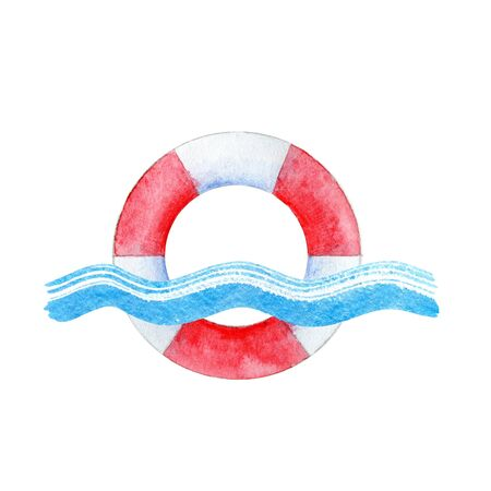 Lifebuoy on a blue wave. Nautical logo isolated on white. Watercolor hand painted illustration. 스톡 콘텐츠