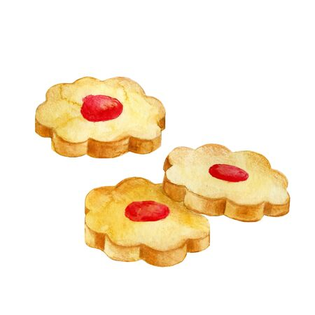 Three round cookies with jam. Hand drawn biscuits. Watercolor illustration isolated on white.