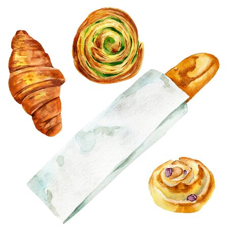 French baguette, croissant and rolls on white background. Watercolor illustration of bread.