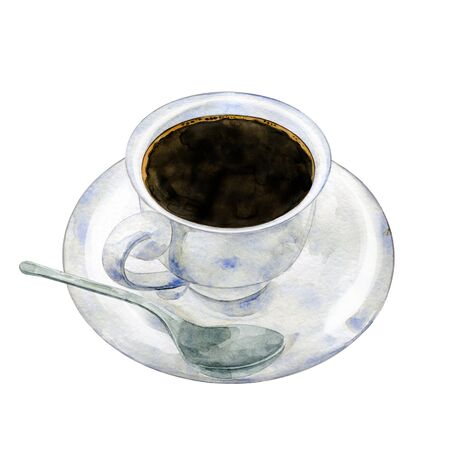 A cup of black coffee with a spoon. Hand drawn watercolor illustration isolated on white background.
