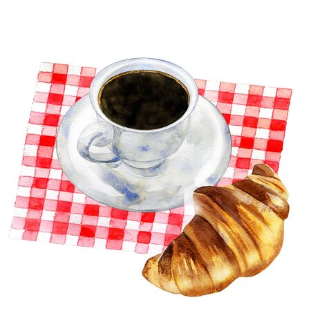 A cup of black coffee with croissant on a red tablecloth. Hand dawn watercolor illustration. Archivio Fotografico - 131689648