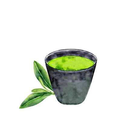 Cup of matcha tea and green leaves. Watercolor illustration isolated on white.