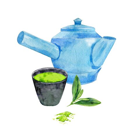 Objects for asian tea ceremony. Cup with matcha,blue teapot and leaves. Watercolor hand painted illustration. Stok Fotoğraf - 131690504