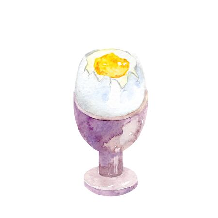 Watercolor boiled egg in a holder. Illustration of breakfast food on white background.