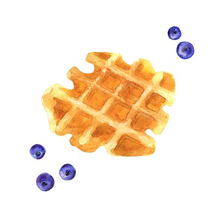 Watercolor waffle with blueberries. Hand painted illustration of gaufre for food menu. Imagens