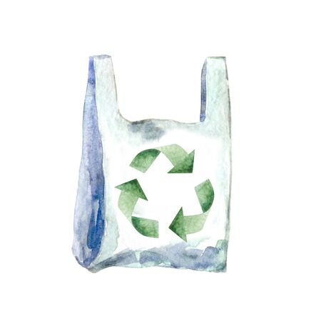 Watercolor plastic bag with recycling sign isolated on white. Hand painted illustration for ecological design.