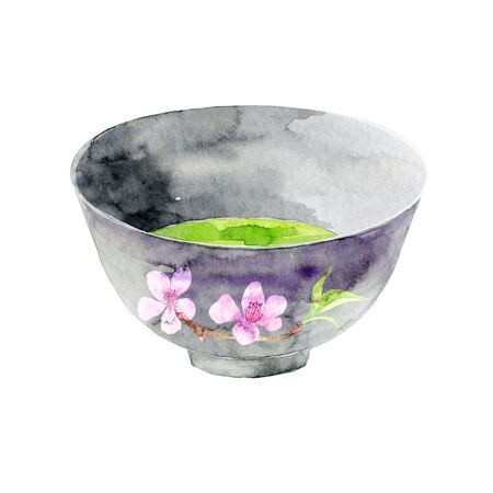 Japanese green tea in a cup. Asian traditional beverage. Hand painted illustration. Stock fotó