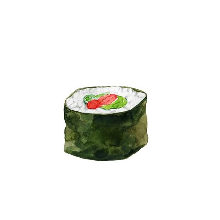 Single sushi roll  with tuna and avocado isolated on white. Watercolor illustration for asian menu and  japanese restaurent.