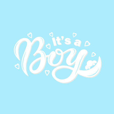 It's a BOY. Hand drawn lettering. Vector illustration Stock Illustratie