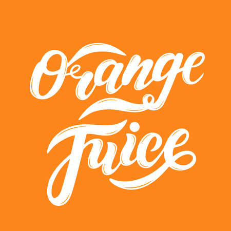 Orange Juice. Hand drawn lettering. Vector illustration Çizim