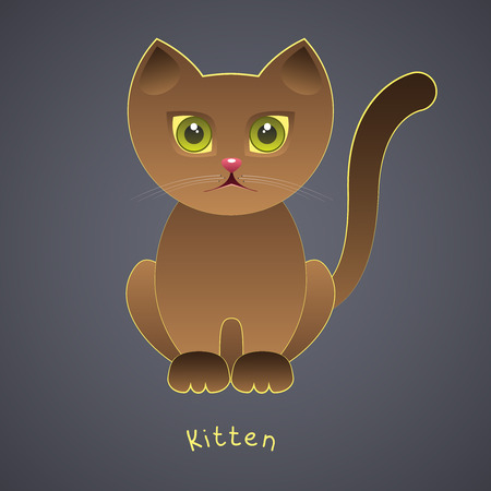 Cute funny brown kitten with green eyes on a gray background Vector