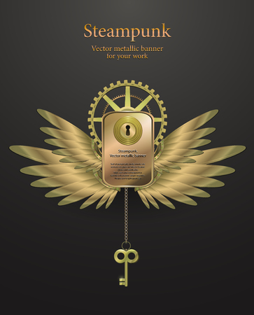 banner with gears in the form of metal wings. retro steampunk. vector illustration Vector