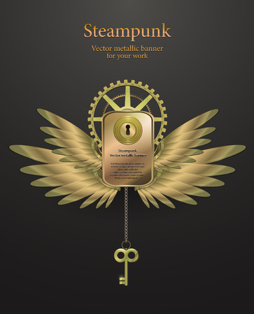 banner with gears in the form of metal wings. retro steampunk. logo. vector illustration Vector
