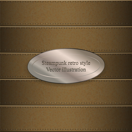 belts: background of leather belts with metallic banner.