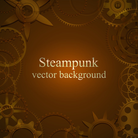 retro background with gears in brown tones.  Vector