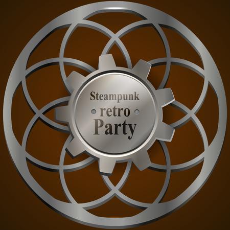 Invitation flyer on retro steampunk party in brown tones.  Vector