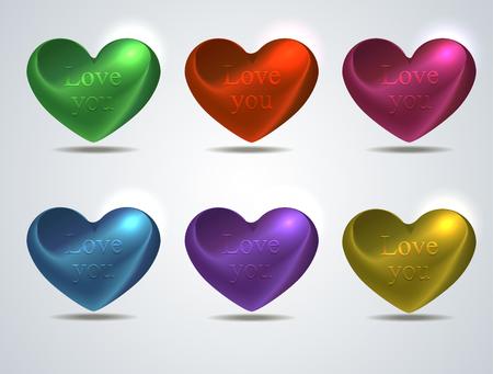 shiny hearts: set of colored shiny hearts