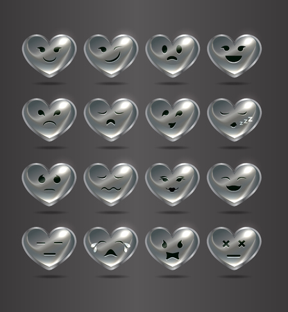 realism: funny metal heart-shaped emoticons for your site. Illustration