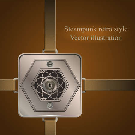 background  belts with metallic banner.  Vector