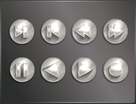 metal round icons Steampunk, flat. Arrows. Vector illustration Vector