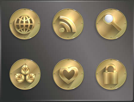 metal round icons Steampunk, flat.  Vector