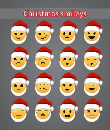 Set of celebratory Christmas smileys for your forum.  Vector