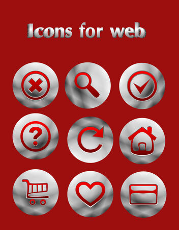 Set the iron web icons on red background Vector