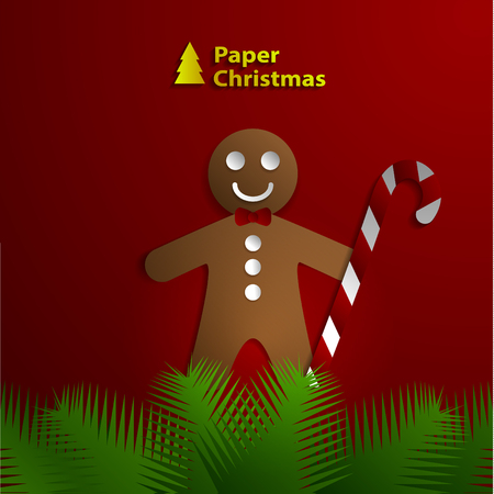 paper greeting card with Christmas cookies.  Vector