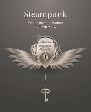 silver metallic banner with wings, a keyhole and key. steampunk.  Illustration