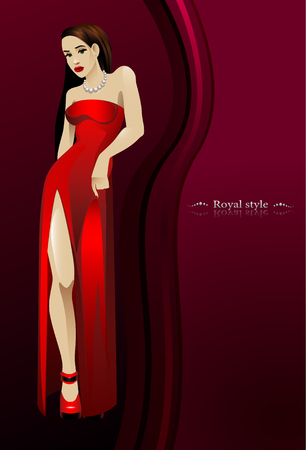 royal style. beautiful girl in red long dress bottom of a dark pink background.