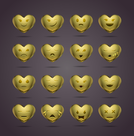 funny metal heart-shaped emoticons for your site.  Vector