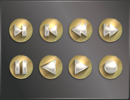 icone tonde: icone rotonde metallo Steampunk, piatta. Vettoriali