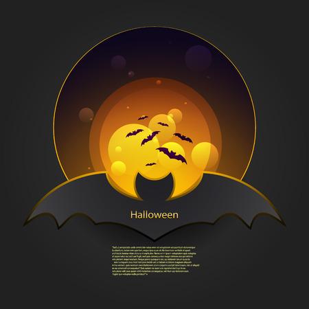 marple: Banner bat in orange and gray tones.  Illustration