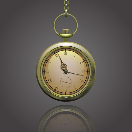 roman numerals: Gold vintage pocket clock on a chain with roman numerals on the grey background Illustration