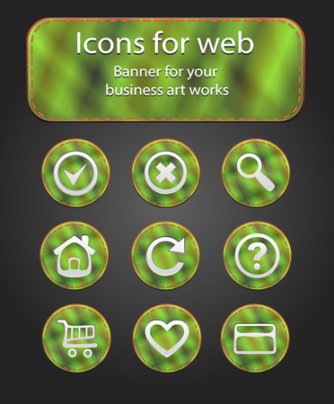 Icons on the fabric web into a cell a gray background Vector