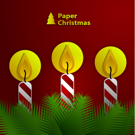 Paper Christmas candles on the branches of spruce.  Vector