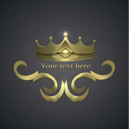 decorative shiny banner. crown logo Иллюстрация